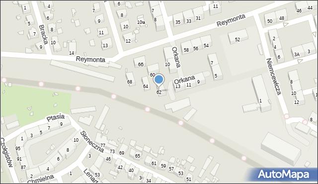 Zabrze, Reymonta Władysława, 62, mapa Zabrza
