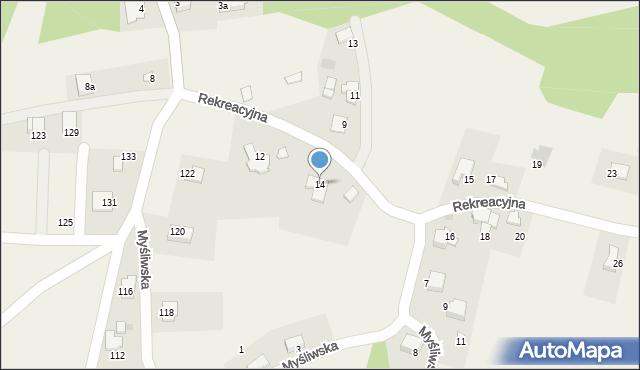 Zagórnik, Rekreacyjna, 14, mapa Zagórnik