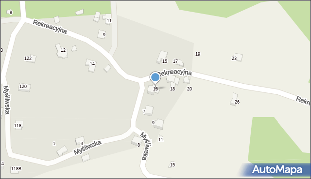 Zagórnik, Rekreacyjna, 16, mapa Zagórnik