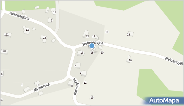 Zagórnik, Rekreacyjna, 18, mapa Zagórnik
