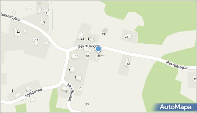 Zagórnik, Rekreacyjna, 20, mapa Zagórnik