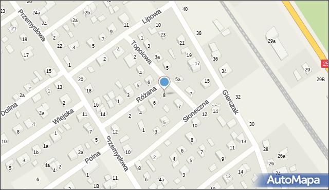 Brzoza, Różana, 8, mapa Brzoza