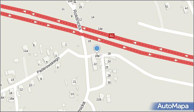 Bytom, Rokitnicka, 16a, mapa Bytomia