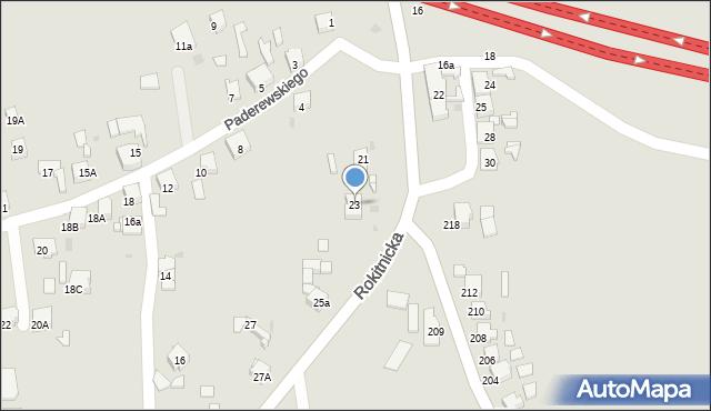 Bytom, Rokitnicka, 23, mapa Bytomia