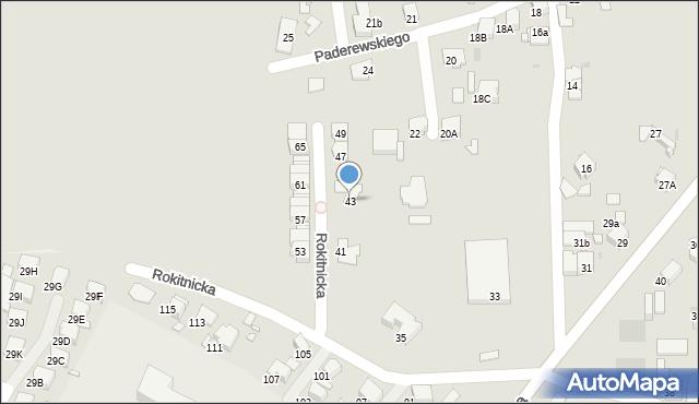Bytom, Rokitnicka, 43, mapa Bytomia
