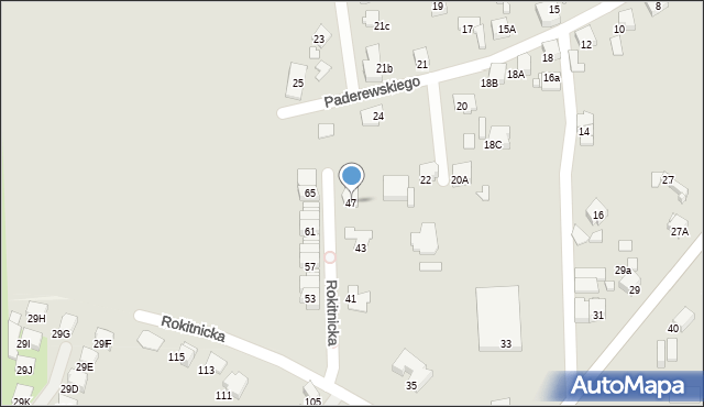 Bytom, Rokitnicka, 47, mapa Bytomia