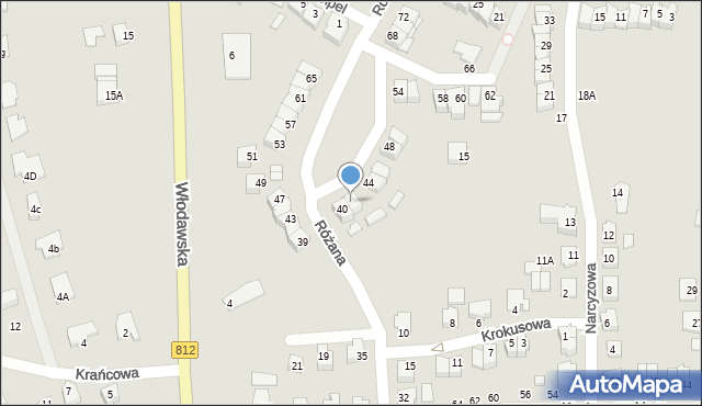 Chełm, Różana, 42, mapa Chełma