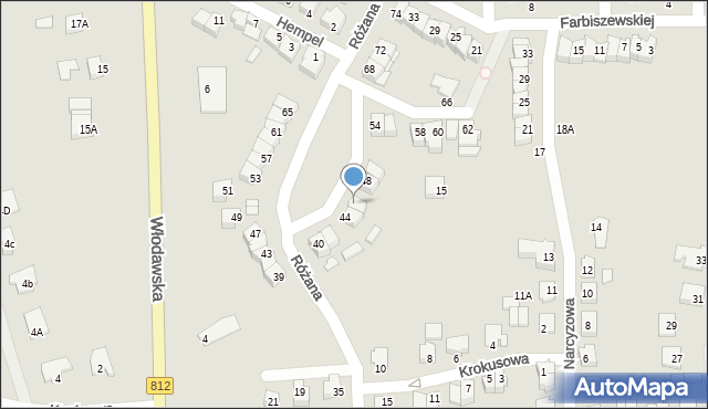 Chełm, Różana, 46, mapa Chełma