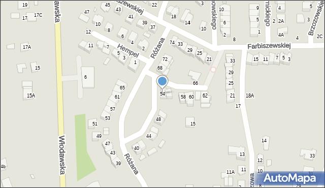 Chełm, Różana, 54, mapa Chełma