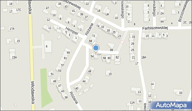 Chełm, Różana, 56, mapa Chełma