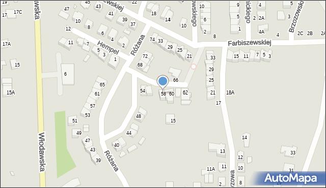 Chełm, Różana, 58, mapa Chełma