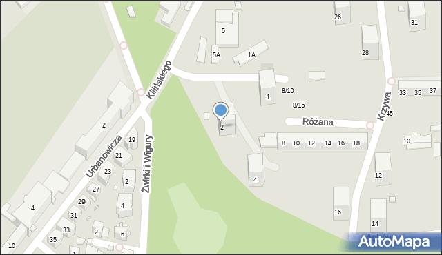 Chorzów, Różana, 2, mapa Chorzów
