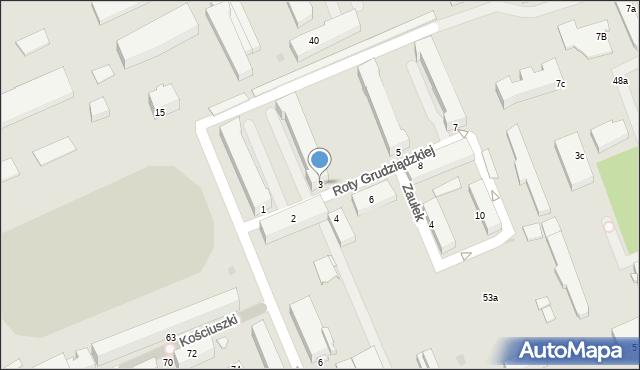 Grudziądz, Roty Grudziądzkiej, 3, mapa Grudziądza