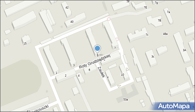 Grudziądz, Roty Grudziądzkiej, 5, mapa Grudziądza