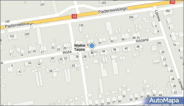 Grudziądz, Różana, 30, mapa Grudziądza