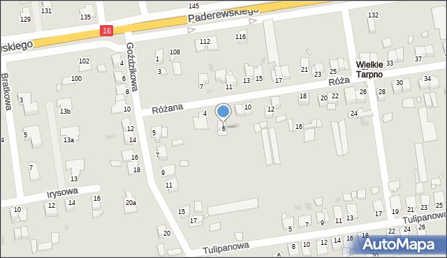 Grudziądz, Różana, 6, mapa Grudziądza