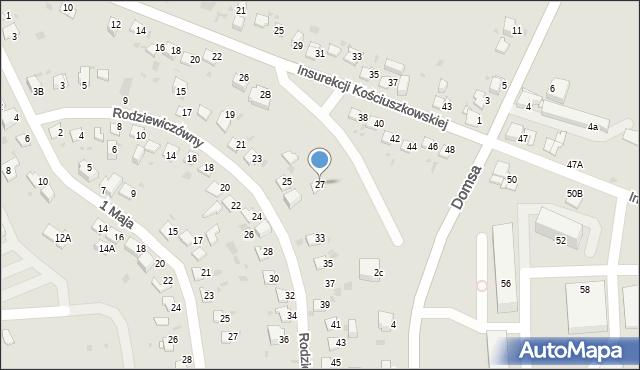 Jaworzno, Rodziewiczówny Marii, 27, mapa Jaworzno