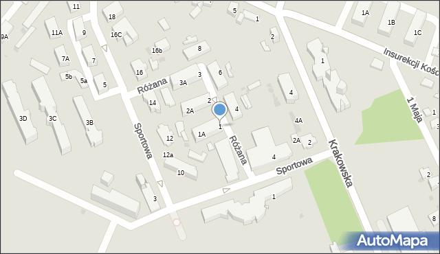 Jaworzno, Różana, 1, mapa Jaworzno