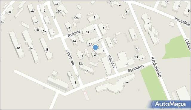 Jaworzno, Różana, 1A, mapa Jaworzno