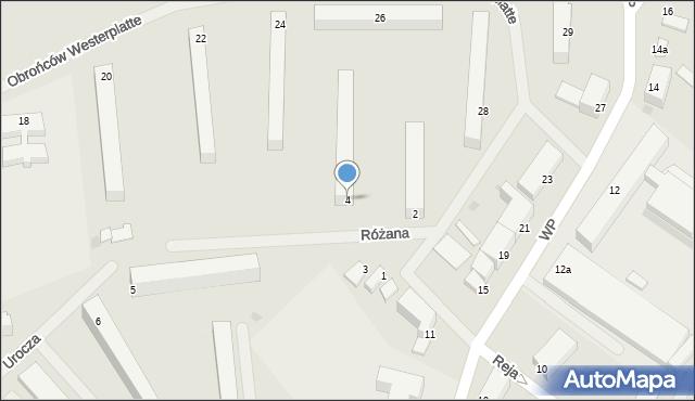 Kętrzyn, Różana, 4, mapa Kętrzyn