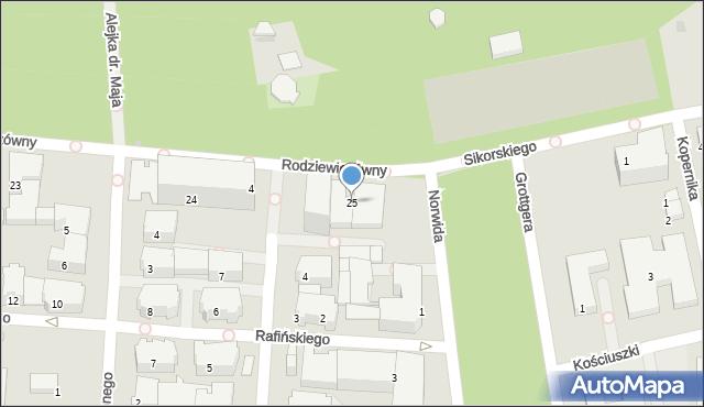 Kołobrzeg, Rodziewiczówny Marii, 25, mapa Kołobrzegu