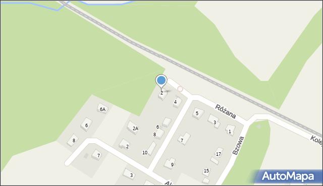 Księginice, Różana, 2, mapa Księginice