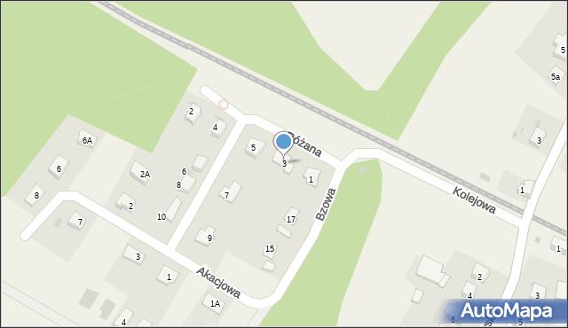 Księginice, Różana, 3, mapa Księginice