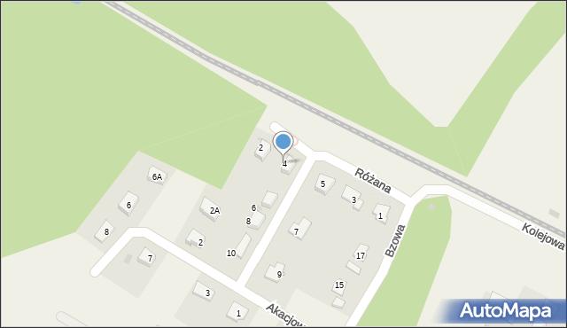 Księginice, Różana, 4, mapa Księginice