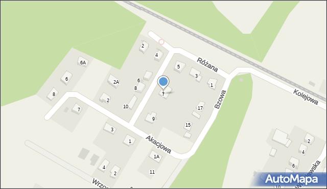 Księginice, Różana, 7, mapa Księginice