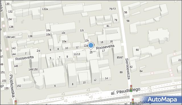 Łódź, Roosevelta Franklina Delano, 15, mapa Łodzi