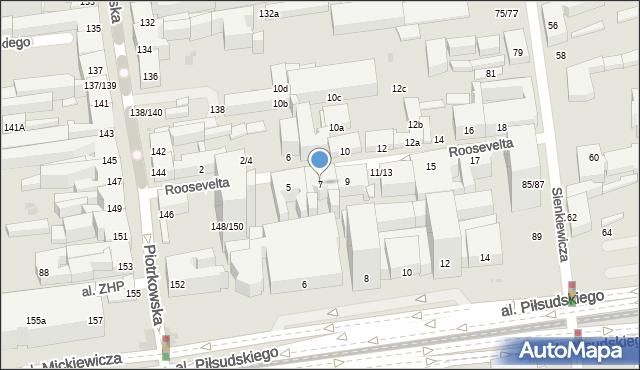 Łódź, Roosevelta Franklina Delano, 7, mapa Łodzi