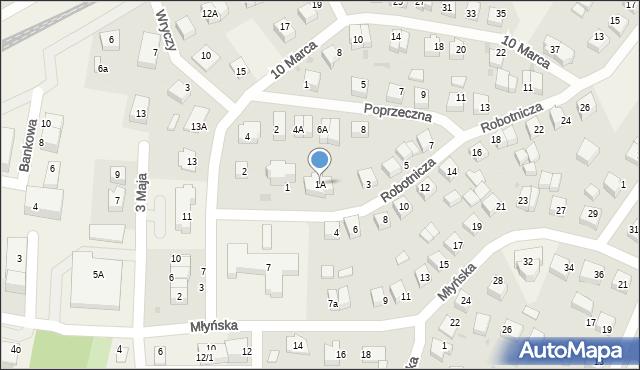 Luzino, Robotnicza, 1A, mapa Luzino