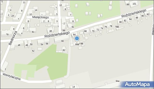 Piekary Śląskie, Roździeńskiego Walentego, 64a, mapa Piekary Śląskie