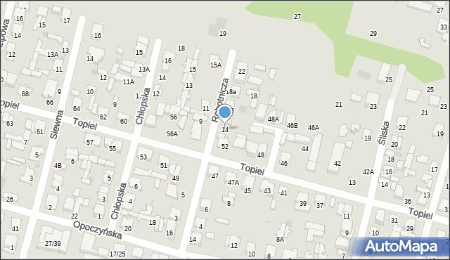 Radom, Robotnicza, 14, mapa Radomia