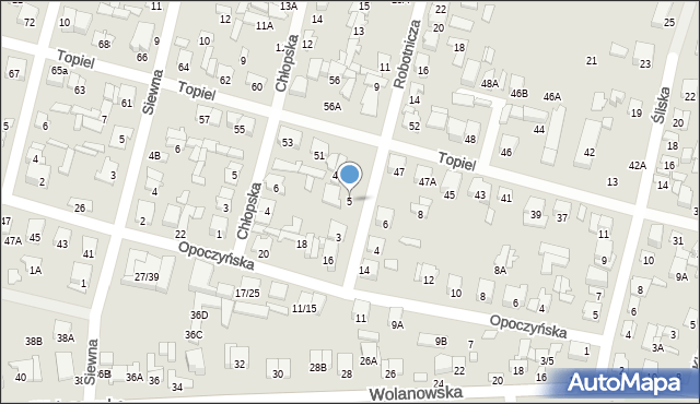 Radom, Robotnicza, 5, mapa Radomia