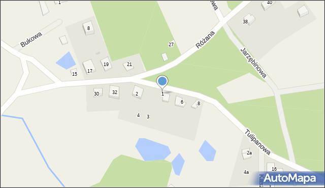 Robakowo, Różana, 1, mapa Robakowo