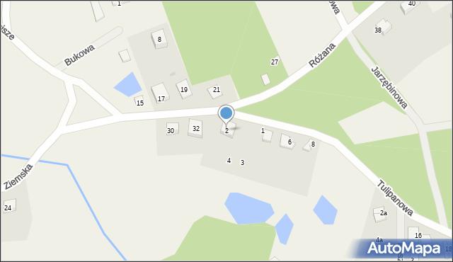 Robakowo, Różana, 2, mapa Robakowo