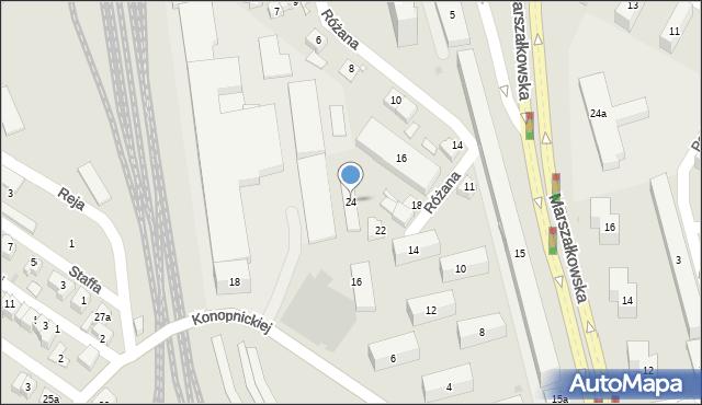 Rzeszów, Różana, 24, mapa Rzeszów