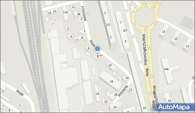 Rzeszów, Różana, 8, mapa Rzeszów