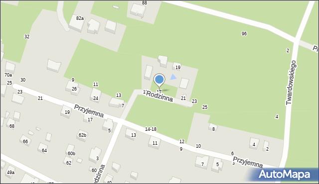 Toruń, Rodzinna, 17, mapa Torunia