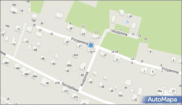 Toruń, Rodzinna, 5, mapa Torunia