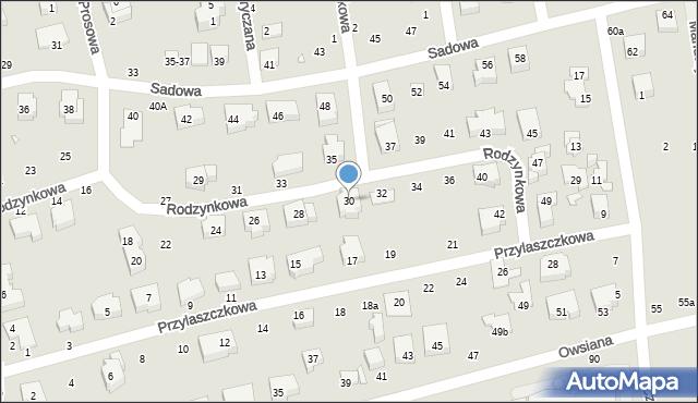 Toruń, Rodzynkowa, 30, mapa Torunia