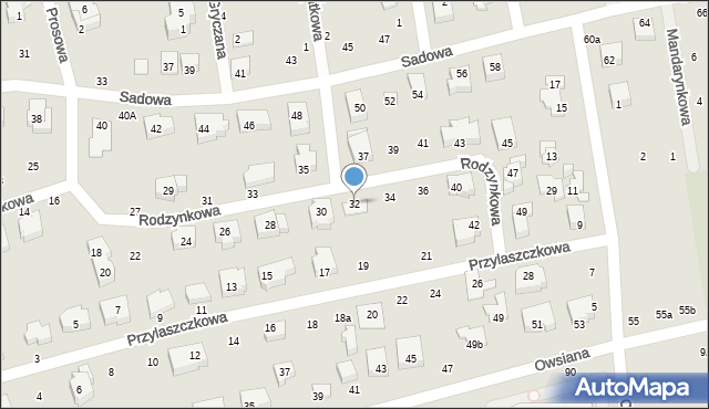Toruń, Rodzynkowa, 32, mapa Torunia