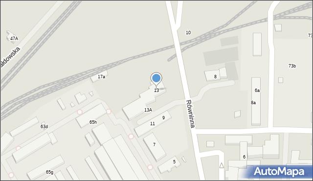 Toruń, Równinna, 13, mapa Torunia