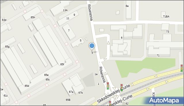 Toruń, Równinna, 3, mapa Torunia