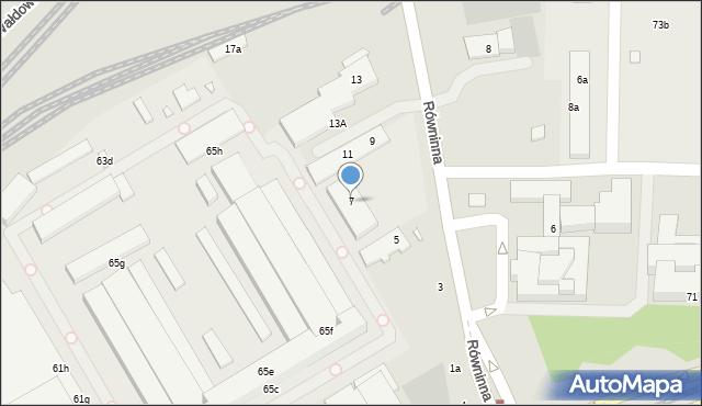 Toruń, Równinna, 7, mapa Torunia