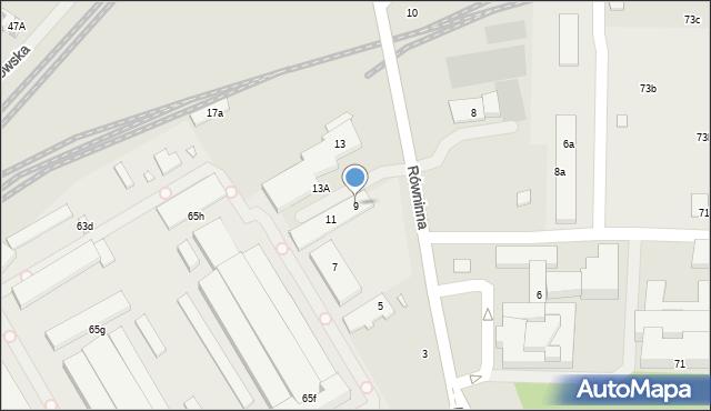 Toruń, Równinna, 9, mapa Torunia