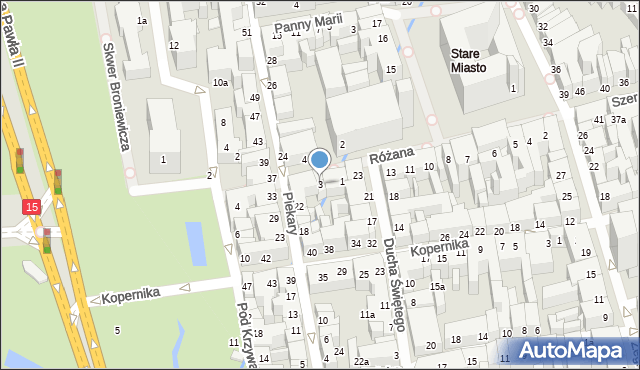 Toruń, Różana, 3, mapa Torunia