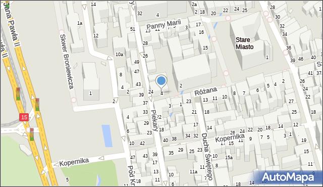 Toruń, Różana, 4, mapa Torunia