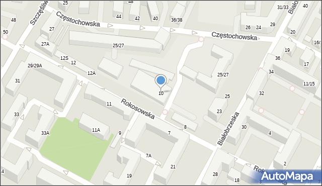 Warszawa, Rokosowska, 10, mapa Warszawy